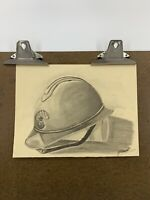 Vintage 50's DRAWING Soldiers Helmet Still Life Sketch Unframed French Artist