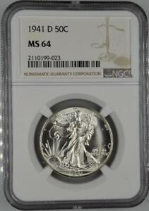 1941-D Walking Liberty Half Dollar NGC MS 64 No Reserve Auction 99C Opening Bid