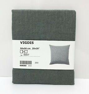 "Ikea VIGDIS Pillow Cushion Cover 100% Ramie 20"" x 20"" Pale Green - NEW"