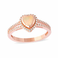 Details about  /Ethiopian Opal Gemstone Anniversary Jewelry 10k Rose Gold Ring