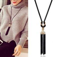 Frauen exquisite Quaste Anhänger Halsketten lange Kette Pullover Halskette NEU