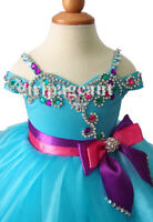 blue Infant/toddler/baby/children beading Pageant Dress266 with hairbow