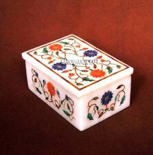 """3""""x2'' Brand New Marble Jewelry Box Inlaid Floral Multi Handmade Gift Arts H3778"""