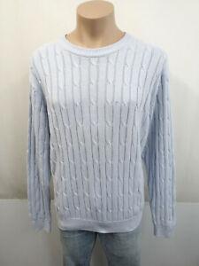 PIERRE CARDIN Designer Pullover Gr.52 Zopfmuster 100% Baumwolle Hellblau Blau