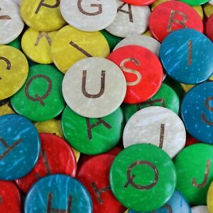 52 COCONUT Shell Uppercase Alphabet discs - 35mm coloured  Spell Craft Children