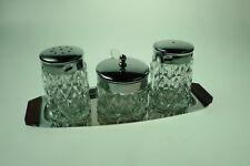 alte Glas-Menagerie Salz- + Pfefferstreuer mit Senftopf aus den 70-erJahren