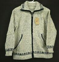 Nova Arte Women's Small Wool Acrylic Blend Long Sleeve Full Zip Sweater - New