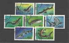 Timbres Poissons Requins Tanzanie 1428/34 o lot 9064