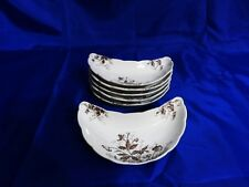 "HENRY ALCOCK & CO Antique Bone Dishes SET OF 6 ""Mira"" #149950 Brown Floral RARE!"