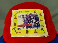 Danger Road Closed Hat Cap Construction Roadblock Pickaxe Shovel Safety Red Blue