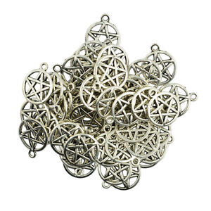 50 Packs Round Star Pentacle Necklaces Pendants Jewelry Findings DIY Crafts