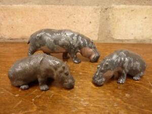 3 Nice vintage lead zoo Hippopotamus figures Britains Hill Co