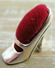 Cute Antique Style Cinderella Shoe Solid Silver 925 Pin Cushion Red Velvet