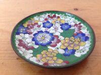 "Vtg Antique Enameled Chinese Lotus Floral Cloisonne Jewelry Trinket Bowl 4.25"""