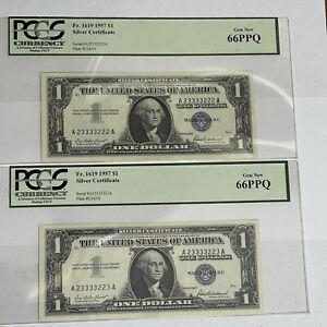 (2) Consecutive 1957 $1 Washington U.S Silver Certificates PCGS 66PPQ Cool #'s