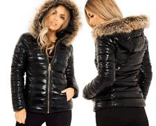 D76 New Womens PU PVC Wet Look Shiny Puffer Fur Hooded Coat Long Sleeve Jacket
