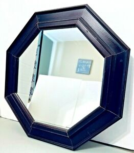 "Mirror Wood Frame Octagon Wall Hanging Large 17"" Cherry Wood Color"
