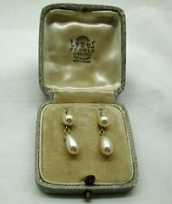 Vintage Lotus 9ct Gold And Simulated Pearl Dropper Earrings In Original Box