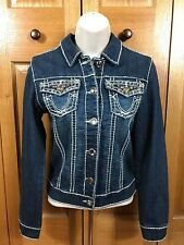 Miss Chic Jeans Premium Quality Ultimate Fit Women's Bling Denim Jean Jacket S