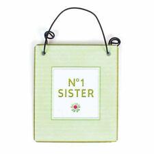 Numéro Nº 1 soeur Mini Metal Hanging Sign plaque vert clair grande idée cadeau