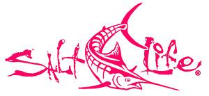 New SALT LIFE Marlin Fish Car Window Decal Beach Sticker fishing UV Vinyl PINK