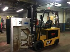 2014 Cat 5000 Lb Electric Forklift with Triple Mast and Carton Clamp