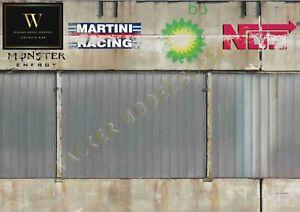 1:18 - 1:24 scale (3xA4) Garage wall - Peel and Apply sticker model car 116