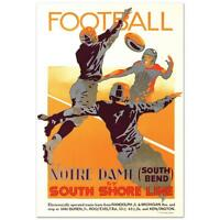 Notre Dame Football South Shore Line Poster Hand Pulled Lithograph Brenneman