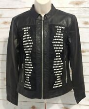 NWT New York & Company Women's Small Black PU Leather Zip Up Motorcycle Jacket