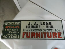 VINTAGE ADVERTISING SIGN-RICHARDSON'S RUGS  SIGN- VINTAGE GENERAL STORE SIGN