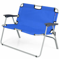 2 Person Camping Folding Chair Portable Outdoor Bench Patio Loveseat Blue