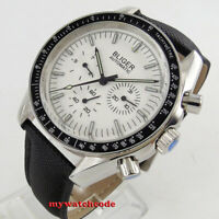 40mm bliger white dial bow glass date week multifunction automatic mens watch