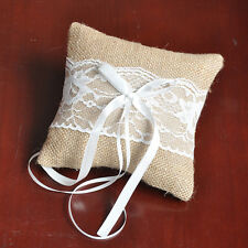 1x 6 inch Burlap Lace Ribbon Rustic Wedding Ceremony Ring Pillow Bearer Cushion
