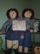 Large Vintage Creepy Raggedy Anne And Andy Dolls With Pillow Saying