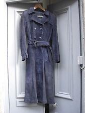 """Vintage 1970 S Bleu En Daim Cuir Trench Coat 32"""" buste, tailles à suivre"""