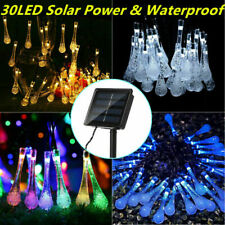 30 LED Solar Power Fairy Lights String Raindrop Waterproof  Garden Party Outdoor