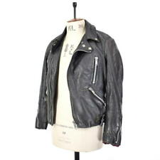 Men's Vintage 70's Black GENUINE LEATHER Motorcycle Biker Racing Jacket UK S