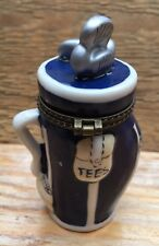Pretty Ceramic Golf Themens Trinket Box/Ornament/Golf Bag Shape/Novelty/Blue