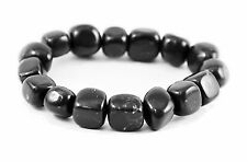 Shungite bracelet from Russia tumbled beads emf protection chakra healing stone