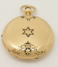 1865 AWCo Civil War Era Waltham 18K Solid Gold Enamel Star Case Pocket Watch