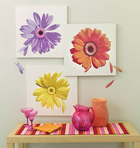 Daisies Huge Spring Daisy Flowers Yellow Orange Purple Wall Murals Decal Sticker