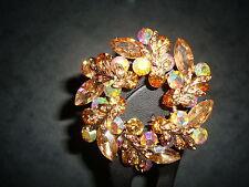 Nickel free gold flower diamante rhinestone wreath pin brooch jewellery