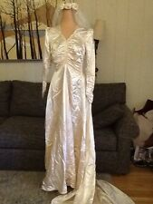 Vintage 40s/50s Satin Wedding Gown, Veil