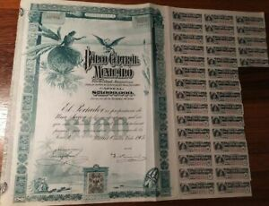 Mexico 1905 Central Bank Blueberry 100 Pesos Coupons NOT CANCELLED Bond Share
