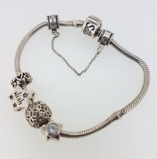 925 Silver stamped SilveRado  Charm Bracelet  with charms and safety chain