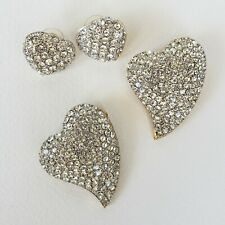 Swarovski Crystal Heart Shaped Jewelry Lot Brooch Earrings Pendant Signed R/G