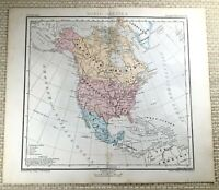 1882 Antik Map Of North America Mexico Britische Kanada Alt Deutsch 19th Century