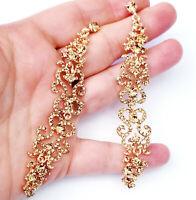 Chandelier Earrings Rhinestone Topaz Crystal Bridal Prom Pageant Drag 4 inch