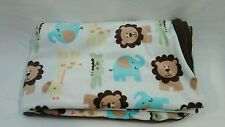Carters Child of Mine Brown Baby Blanket White Lions Giraffe Elephant Crocodile