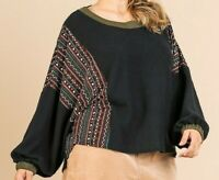 New Umgee Top 1X Black Waffle Knit Aztec Puff Sleeve Boho Peasant Plus Size